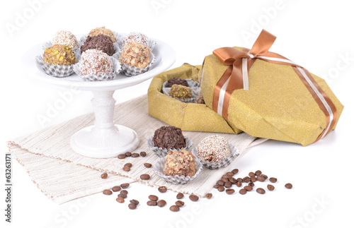 Set of chocolate candies isolated on white