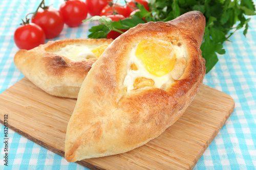 Ajarian khachapuri close up