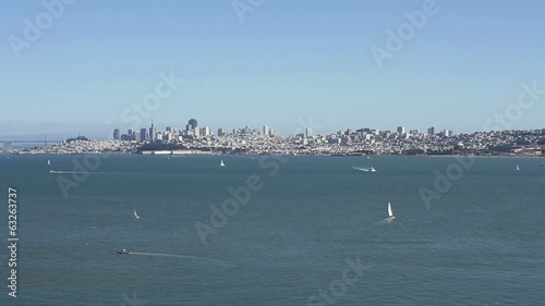 Wide shot of water by Golden Gate area in San Francisco