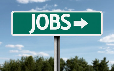 Jobs green road sign