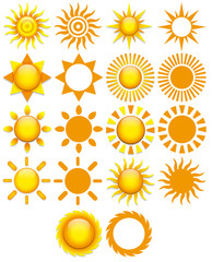 Set Of Different Abstract Suns Isolated On White Background