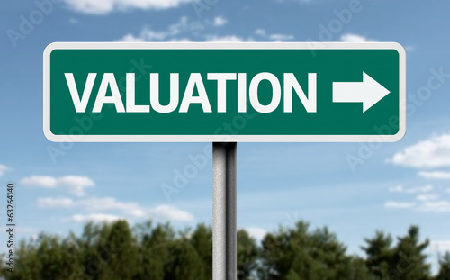 Valuation road sign