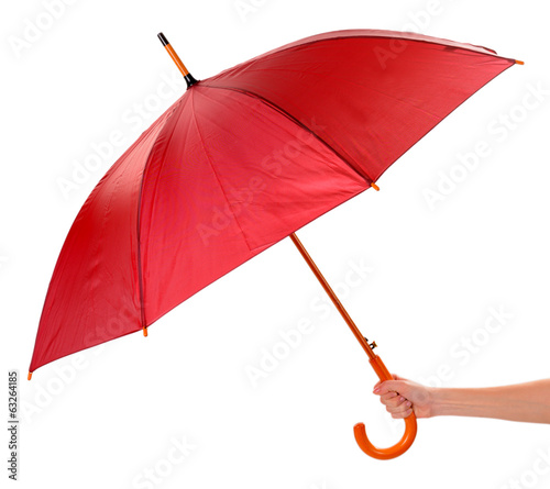 canvas print picture Red Umbrella in hand isolated on white