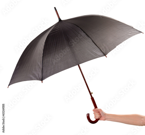 Black Umbrella in hand isolated on white