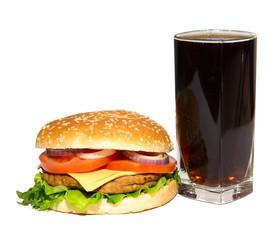 cheeseburger and cola