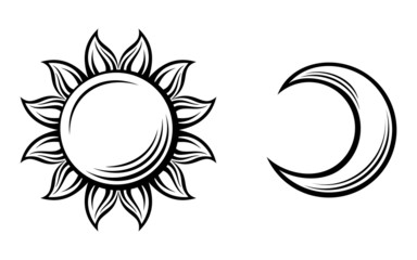Black silhouettes of the sun and the moon. Vector illustration.