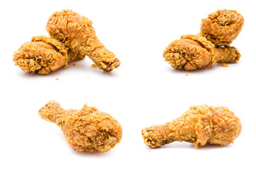 Fried chicken isolated white background