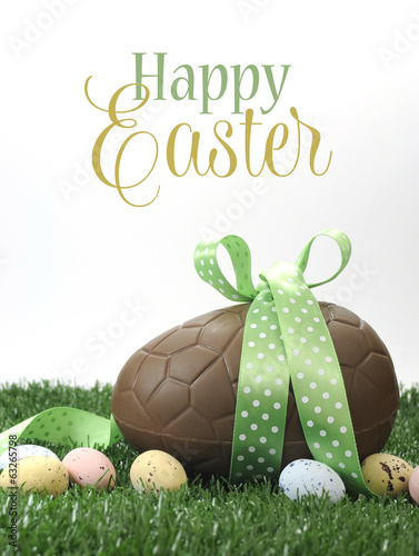 Happy Easter large green theme chocolate egg and text