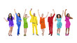 Group of Rainbow Themed Multi-Ethnic People Arms Raised