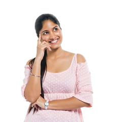 Cheerful Thinking Indian Woman