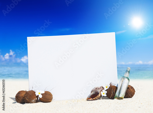 Paradise Beach Display with Copy Space