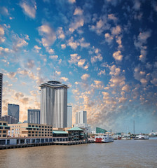 New Orleans skyline. City buildings on Mississippi river, Lousia