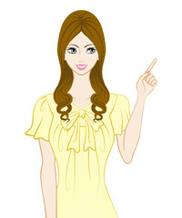 Long hair women, Pointing