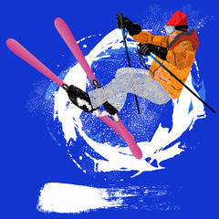 Freestyle Skiing.Mountain skiing.Extreme Skiing.Winter Sport.