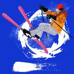 Freestyle Skiing.Mountain skiing.Extreme Skiing.Winter Sport.