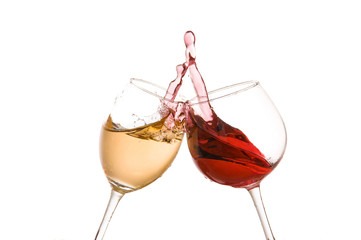 wine glass toast on a white background
