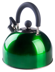 Kettle with whistle on a background.