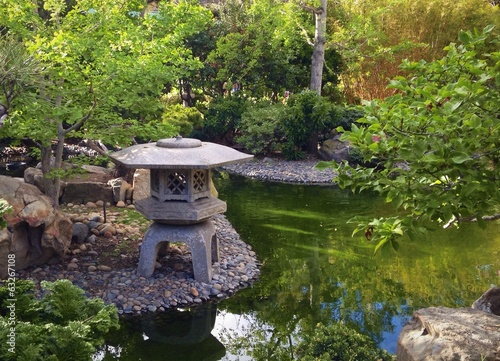 Beautiful oriental garden and Koi pond.