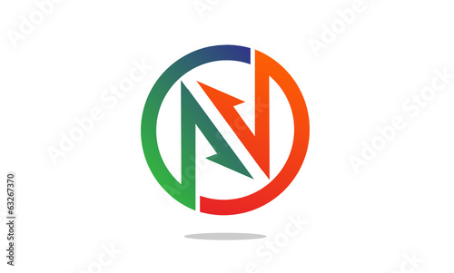 N letter with arrow