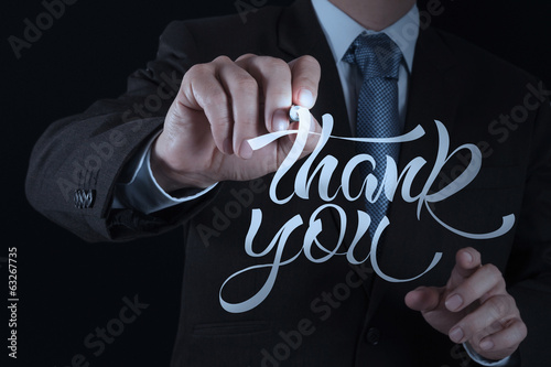businessman hand drwing design word THANK YOU