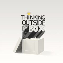 open box 3d and design word THINKING OUTSIDE OF THE BOX as conce