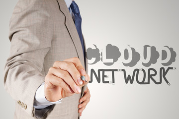 businessman hand drawing  Cloud network desogn word and diagram