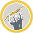 Electrician Holding Lightning Bolt Side Retro