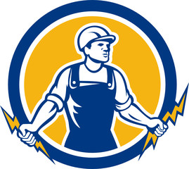 Electrician Holding Two Lightning Bolts Side Retro
