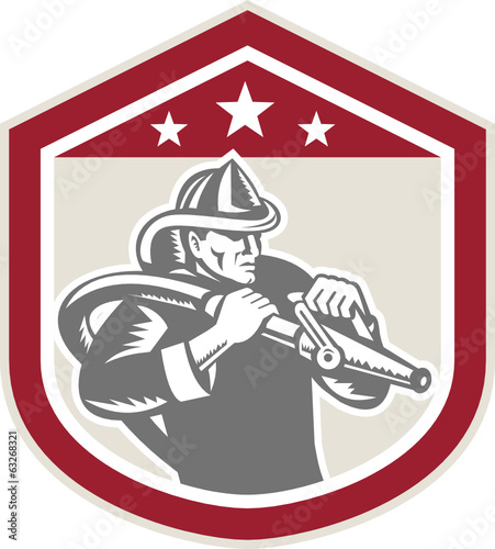 Fireman Firefighter Fire Hose Shield Retro
