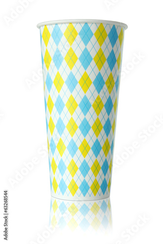 colorful paper cup isolated on white background