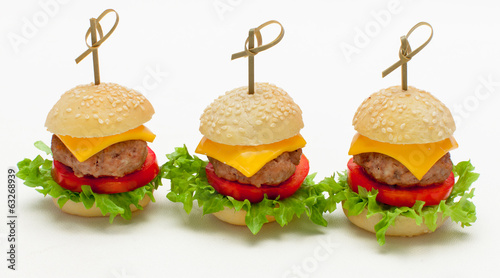 Fotobehang Picknick Miniburger als Fingerfood