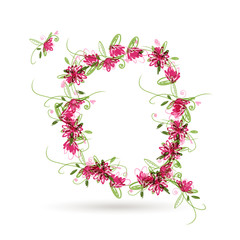 Floral letter Q for your design