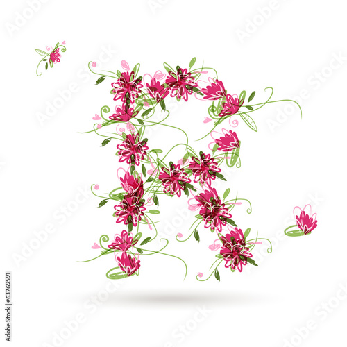 Floral letter R for your design