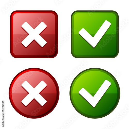 Glossy Check Mark Stickers and Buttons. Red Green. Vector.