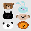 Animal head set. Cartoon bear, rabbit, cat, dog, panda, lion.