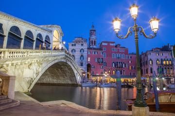 Venice -  Ponte Rialto in evening dusk