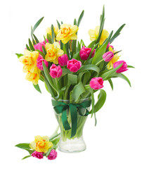 bouquet of tulips and daffodils in vase
