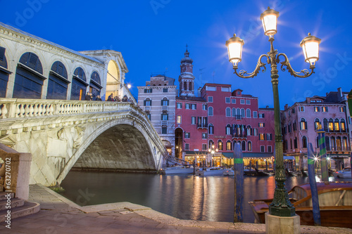 Venice -  Ponte Rialto in evening dusk