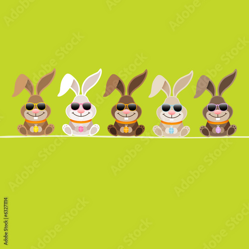 5 Cute Rabbits Green Glasses