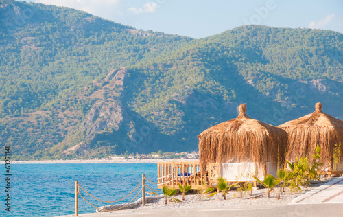 Turkey. Sea bungalow  on a sand beach