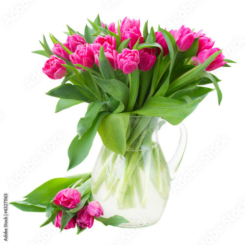 bouquet of double pink tulips in vase