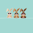3 Bunnies Glasses Eggs Easter Card Retro