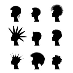 silhouette of a girl with a mohawk
