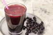 Drink of frozen blueberries.