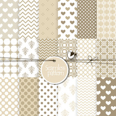 Set of seamless patterns for scrapbook