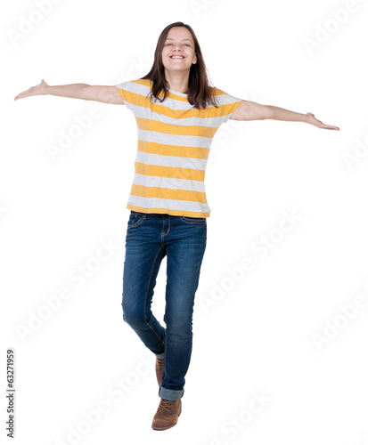 front  view of  joyful woman celebrating victory hands up