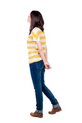 back view of standing young beautiful  brunette woman