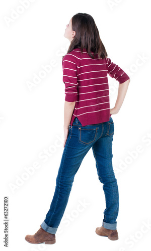 back view of standing young beautiful  brunette woman in red pul