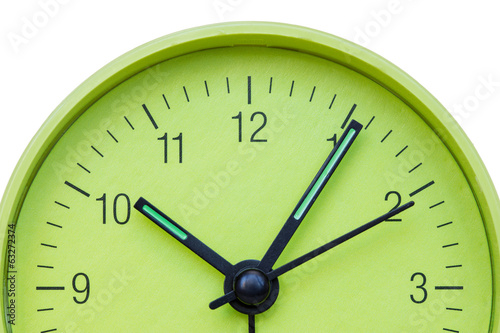 Green clock face over a white background