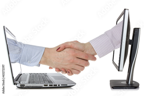 Virtual handshake - internet business concept